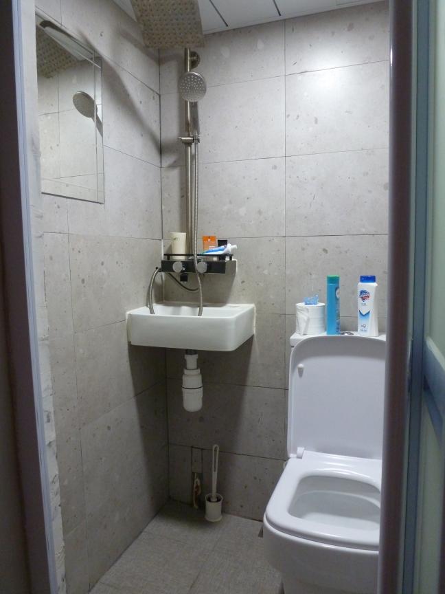 Home sweet itty bitty home: the teeniest washroom I've ever seen, shared between 4 of us!